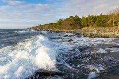Burzowy zimy morze Zdjęcia Royalty Free