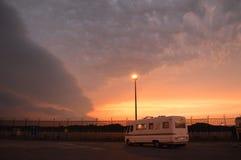 Burzowy zmierzch, Dunkerque, Francja Zdjęcia Royalty Free