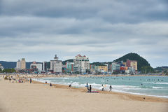 Busán, Corea - 19 de septiembre de 2015: Playa de Songjeong Imagen de archivo