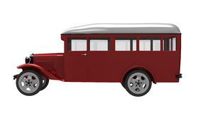 The bus. 3d render of  model of the ancient bus on a white background Stock Images