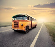 Bus. Old bus on a countryside road Royalty Free Stock Images