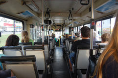 In the bus. People are sitting in the bus, Perth, Western Australia Stock Photography