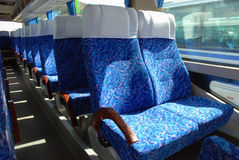 Bus. Passenger compartment of a big shuttle bus Royalty Free Stock Images