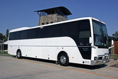 Bus. White touring coach outside a Queensland winery royalty free stock images