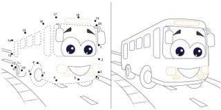 bus Aantallenspel voor kinderen punt om onderwijsjong geitje gamewith antwoord te stippelen royalty-vrije stock foto's