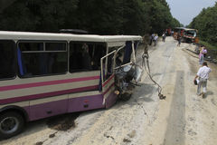 Bus accident Stock Photography