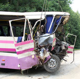 Bus accident. Scene of bus crash where tourists were died Royalty Free Stock Image