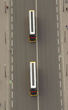 Bus aerial view Stock Photography