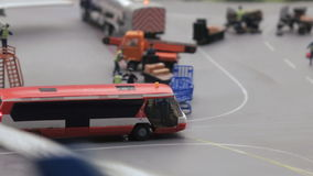 Bus at the airfield. ST. PETERSBURG - JULY 2016: The bus at the airfield in small city, Russia. The Grand Maket, which opened in 2011, is a 1:87 scale replica of stock video