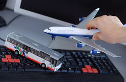 Bus or airplane. Transport concept with toy bus and airplane Royalty Free Stock Photo