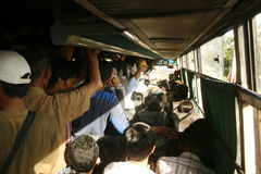 Bus ammucchiato Fotografie Stock