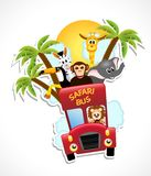 Bus with animals, illustration Royalty Free Stock Photo