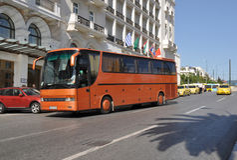 Bus in Athen Griechenland Lizenzfreies Stockfoto