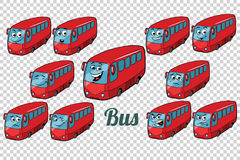 Bus autobus collection set neutral background. Comic book cartoon pop art retro color illustration drawing Royalty Free Stock Photo