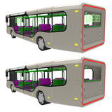 Bus back. Render of  a modern urban commuter bus from the back Stock Photography