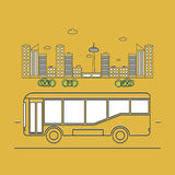 Bus on the background of the city. Public transport. Bus on the background of the city. outline vector illustration Royalty Free Stock Photos