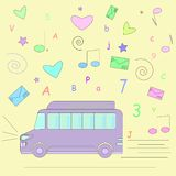 Bus on the background of various signs stock illustration