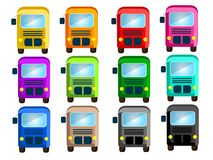Bus in 12 beautiful colors stock illustration