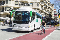 Bus and bicycle, Barcelona Royalty Free Stock Photography