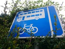 Bus and bike sign Royalty Free Stock Photography