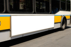 Bus Billboard. Blank billboard on bus side . Transit display, outdoor advertising Stock Photography