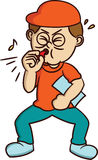 Bus Blowing Whistle Cartoon vector illustratie