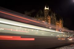 Bus Blur at Night. Bus Motion Blue at Night in Canada Street Stock Photo