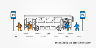 Bus boarding and debussing vector illustration. Public transport with driver and people, passengers who come in and come out bus Stock Images