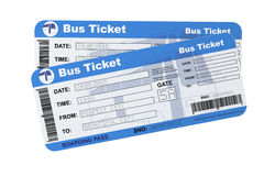 Bus boarding pass tickets Stock Photos