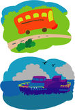 Bus And Boat. Illustrations vector transportation Bus And Boat Stock Photography