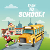 Bus boy back to school design. Yellow bus boy back to school cartoon icon. Colorful design. Vector illustration Stock Photography