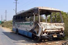 Bus brûlé Image libre de droits