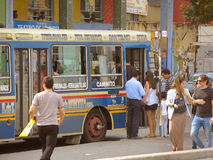 Bus in Buenos Aires. BUENOS AIRES – MARCH 31: Bus arrives to the famous Caminito in La Boca on March 31, 2013 in Buenos Aires. La Boca is a popular and royalty free stock photo