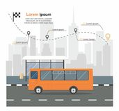 Bus at the bus stop on background of city Transporation infographic Stock Photo