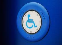 Bus button with wheelchair Stock Photos