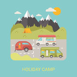 Bus Camp station vector flat style illustration lo Royalty Free Stock Images