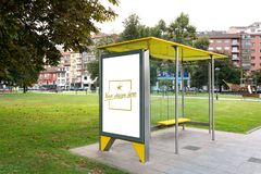 Bus canopy with customizable design stock image