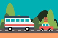 Bus and car drive on the road on nature background royalty free illustration
