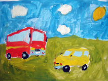 Bus and car - painted by child Royalty Free Stock Image