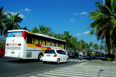 Bus and cars on the streets of Manila Stock Photography