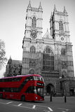 London Double Decker Bus and Westminster Abbey Stock Photo
