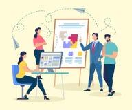 Bus Character Making Presentation van Coworking vector illustratie