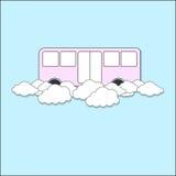 Bus che galleggia sulla nuvola Fotografia Stock Libera da Diritti
