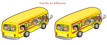 Bus and children-10 differences. Find ten differences in the pictures - school bus with children Stock Photo