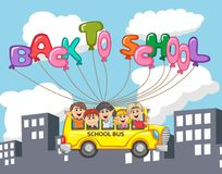 Bus and children flying with balloon letter through city building cartoon Royalty Free Stock Photos