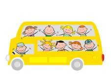 Bus and children Royalty Free Stock Photo