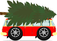 Bus and christmas tree Stock Images