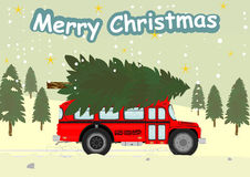 Bus and christmas tree Royalty Free Stock Images
