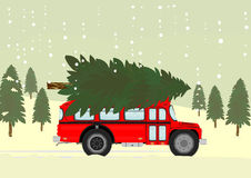 Bus and christmas tree Royalty Free Stock Image