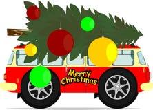 Bus and christmas tree Stock Photography